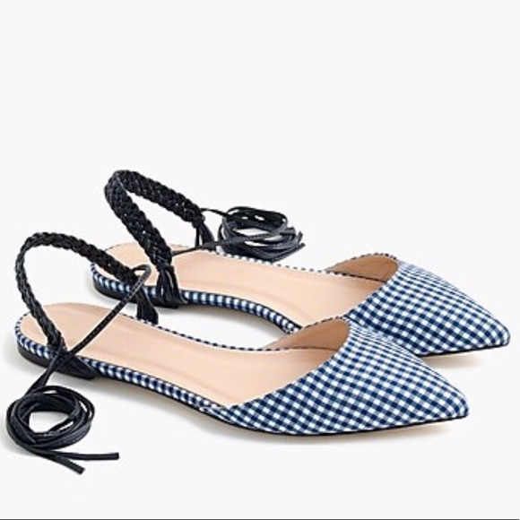 J. Crew Shoes - SALE | J. Crew Slingback Gingham Ankle Wrap Flats